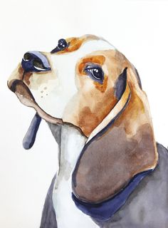 original watercolor painting dog painting beagle painting 24x32cm (9,4x12,6in) by paintingbyZofiaL on Etsy https://www.etsy.com/listing/217404065/original-watercolor-painting-dog