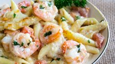 "garlic shrimp recipes ""Want a super satisfying, quick and easy dinner? Then this buttery garlic shrimp pasta bake is definitely a family pleasing meal idea that you should try! Shrimp Pasta Bake, Garlic Shrimp Pasta, Seafood Pasta, Seafood Dinner, Penne Pasta, Easy Pasta Bake, Healthy Shrimp Pasta, Shrimp Casserole, Chicken Pasta"