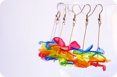 Earrings, made out of recycled plastic.