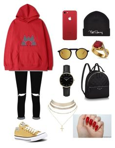 """""""magma"""" by estherbc on Polyvore featuring Boohoo, Converse, ROSEFIELD, Allurez and Charlotte Russe"""