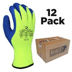6 Pair Premium Nylon PVC Protective Safety Work Gloves Waterproof Comfy