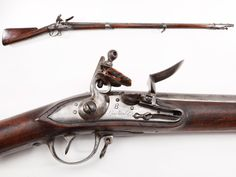 French Charleville Musket – The French Charleville musket and the British Brown Bess musket faced off against each other during our Revolutionary War, but future US flintlock muskets were to be based on the Charleville design.  Some reasons include that the Charleville was lighter and better balanced (near eight pounds vs. 11 lbs. for the Brown Bess), was chambered to fire .69-71 caliber round balls, and was fitted with three barrel bands instead of pins – allowing easier takedown for…