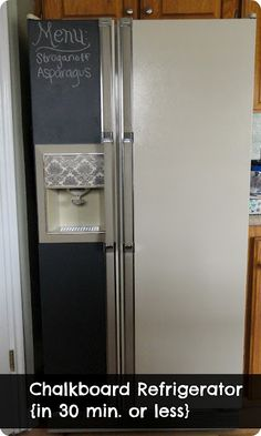 I love the fact this is done with vinyl. Great for renters looking to update the look and functionality of an old fridge