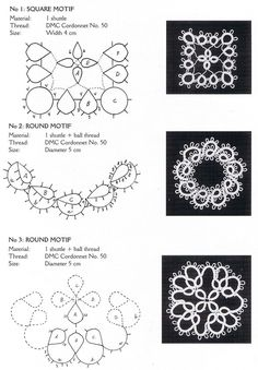 Tatting lace lesson japanese craft ebook by LibraryPatternsFREE--earring motif: chart and pic Tatting Earrings, Tatting Jewelry, Tatting Lace, Needle Tatting Patterns, Tatting Tutorial, Lace Making, Pattern Design, Needlework, Diy And Crafts