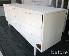 Old Mid - Century Credenza Before it's  Makeover From Design Sponge