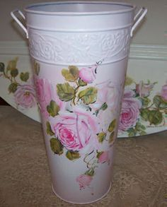 white trash can w/pink roses