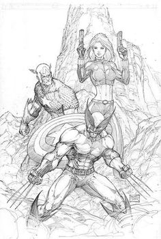 Wolverine, Captain America and Black Widow by Michael Turner