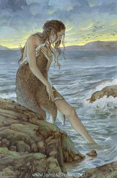 Selkie becoming a woman...she is releasing her fur skin and will hide it until she is ready to return to the sea...