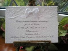 Special Offer Handmade Personalised White Lace Wedding RSVP Satin Bow | eBay Available from vintagelaceweddingcards.co.uk