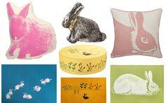 Areaware – Pico Bunny  Thomaspaul – Antique Toys Bunny  Thomaspaul – Rose Bunny Linen Pillow  Flensted Mobiles – Circular Bunnies  IndiB – Bunny Floor Cushion  IndiB – Kid's Collection – Bunny  Thomaspaul – Kiwi Bunny Alpaca Blanket