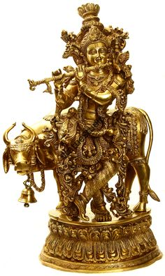 StatueStudio Large Size Brass Lord Krishna With Flute And Cow Sculpture This beautiful Krishna statue is a perfect addition to any home or office. Radha Krishna Images, Lord Krishna Images, Krishna Pictures, Krishna Radha, Hanuman, Krishna Statue, Lord Krishna Wallpapers, Krishna Janmashtami, Nataraja