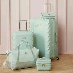 Luxe Hard-Sided Mint Carry-on Spinner Suitcase, - Backpacks & Luggage - Luggage + Duffle Bags - Cute Luggage, Carry On Luggage, Luggage Sets, Travel Luggage, Travel Bags, Teen Luggage, Travel Packing, Pottery Barn, Hard Sided Luggage