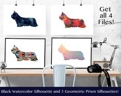 Skye Terrier Dog - Geometric Pattern Silhouette from Breed Collection - Digital…
