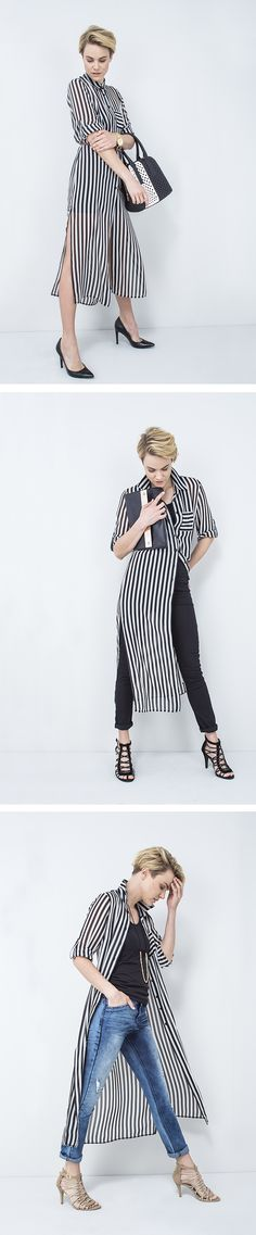 to wear the stripe dress. Classic and simple. Cool and casual. Stripe Dress, Hijabs, Put On, Art Direction, Diana, That Look, Stripes, Women's Fashion, Silk