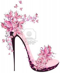 Shoes on a high heel decorated with butterflies Stock Photo