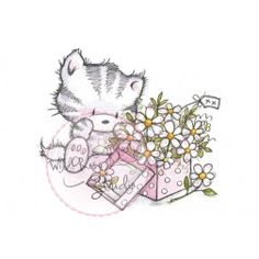 Wild Rose Studio Clear Stamp - Elsie with Daisies