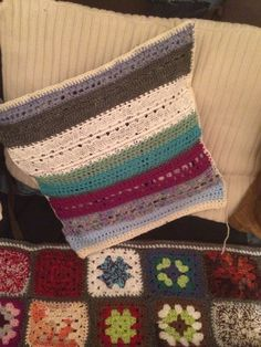 New cushion from strip of vintage linen edging and crochet scraps