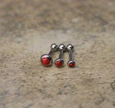 Triple Helix Fire Red Fire Cartilage Earrings, Triple Helix, Surgical Steel Piercing Jewelry 18G 16G