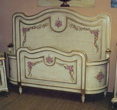 Hand painted French Louis XV bed, painted in Olinda Romani's roses and ribbon design on antique white background