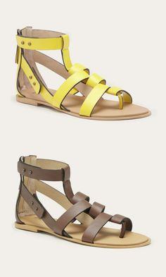 Yellow and brown leather gladiator sandals by Joe's Jeans. Modernized with pin hole closures, cool strap detailing and an easy back zipper.