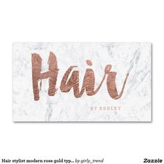 Hair stylist modern rose gold typography marble Double-Sided standard business cards (Pack of 100)