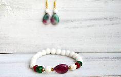 Mrs_Leyla / Sada šperkov z minerálov - Náramok a Náušnice Beaded Bracelets, Boho, Jewelry, Fashion, Moda, Jewlery, Jewerly, Fashion Styles, Pearl Bracelets