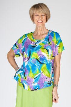 Selina print top in two colours - Patricia Dawson