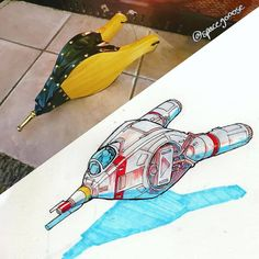 Eric Guesz Turns Everyday Objects into Spaceships — GeekTyrant Space Ship Concept Art, Concept Art World, Arte Sci Fi, Starship Concept, Space Drawings, Sci Fi Ships, Spaceship Design, Star Wars Ships, Futuristic Cars