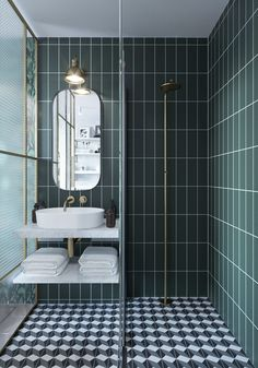 salle de bain style art deco graphic mix and match Bad Inspiration, Bathroom Inspiration, Modern Bathroom Design, Bathroom Interior Design, Bathroom Designs, Bathroom Ideas, Shower Ideas, Serene Bathroom, Art Deco Bathroom