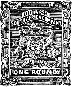 British South Africa Company One Pound Stamp 1891 British Colonial Decor, Under The Rainbow, African History, Stamp Collecting, Digital Stamps, Postage Stamps, South Africa, Clip Art, 1 Pound