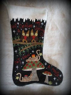 Not A Creature Was Stirring Christmas Stocking E-PATTERN by cheswickcompany