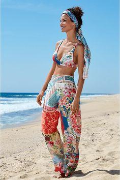 Vintage Gypsy, Short Kimono, Wide-brim Hat, Resort Style, Pull On Pants, Swimsuits, Swimwear, Boho Chic, Fitness Models
