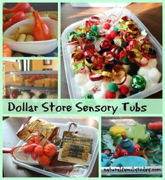 Make themed sensory tubs from simple dollar store finds. #preschool #toddler