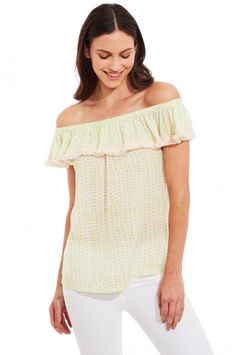 Get ready to move to the music during those late summer nights in our Roberta Roller Rabbit Bai top. This off the shoulder style features cotton fringe and an elastic neckline. This is the perfect shirt for a casual summer look.