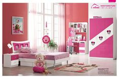 Kids Room. Inspiring Platform Bed Girl Kids Bedroom Furniture With White Pink Wardrobe And In Red Wall