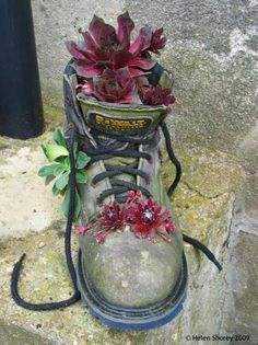 Turn your old boots into planters! Love this idea - great way of recycling #homesfornature
