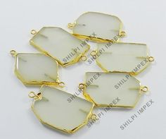 5Pc! Wholesale Lot Natural White Onyx Brass Pendant Jewelry Connectors Charms #Shining_Gems #Connectors #Jewelry #gemstone