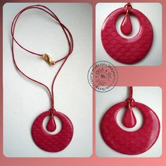 """A simple, but pretty, pendant made of polymer clay using a """"Mica shift"""" technique."""