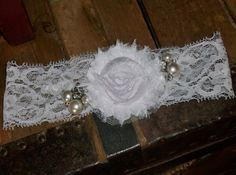 White Bridal Garter with Rhinestone and Pearl by DESIGNERSHINDIGS, $12.00