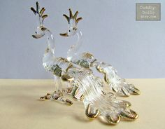 2 PEACORK Birds Hand Blown Clear Glass Animal Figurine Gold Trim Collectible Gifts Peacork Glass Peacork Figurine Bird Glass Decoration by cuddlydolls on Etsy