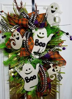 Halloween Wreath Halloween Ghost Wreath Swag Boo Ghost