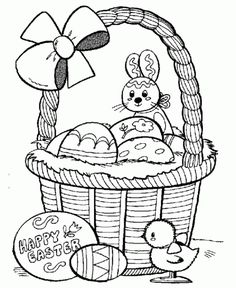 Basket Easter Eggs Coloring Pages