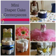 Follow our simple tutorial on how to make DIY Baby Shower Centerpieces. These diaper cakes are easy and inexpensive to make for your next baby shower.