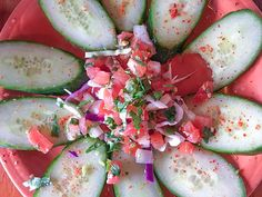 Spicy cucumbers - sliced and topped with fresh lime juice and chile salt