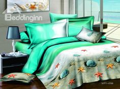 Romantic Light Green Shell-shape and Sandy Beach Printed 4 Piece Cotton Bedding Sets Bedding Sets 3d Bedding Sets, Cotton Bedding Sets, Comforter Sets, Queen Size Duvet Covers, Duvet Cover Sets, Ocean Bedding, Beach Bedroom Decor, Bedroom Ideas, Ocean Room