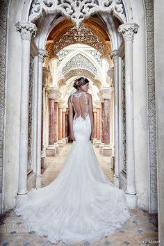 solo merav 2017 bridal sleeveless illusion jewel deep plunging sweetheart neckline heavily embellished bodice elegant fit and flare mermaid wedding dress keyhole back chapel train (adel) bv