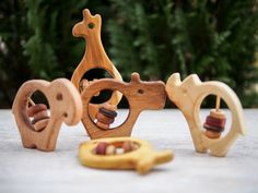 Wooden Rattle Toy Set of 3 Wooden Rattle by TheWoodPeckerFactory