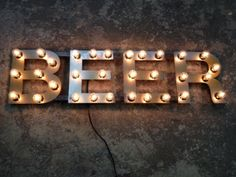 Metal Letters BEER light fixture 18 inch tall marquee signage. $340.00, via Etsy.