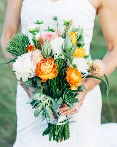 modern orange bouquet   Newport Beach Civic Center wedding   Modern Geometric Wedding as featured on Green Wedding Shoes