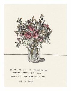 Mali Fischer — Pen and watercolor. Pretty Words, Beautiful Words, Art Du Monde, A Silent Voice, Pen And Watercolor, Watercolor Flowers, Wow Art, Quotes About Strength, Flower Art